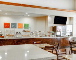 breakfast food display and table seating