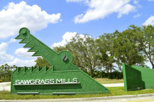 Sawgrass Mills Shopping Outlet Mall sign