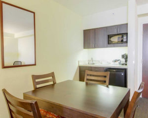 kitchen and dining table in guest suite